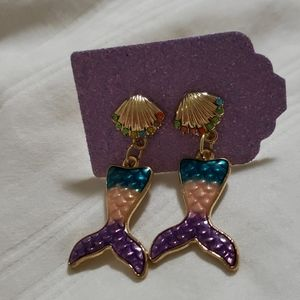 Hand made earrings with mermaid tails. Nwt